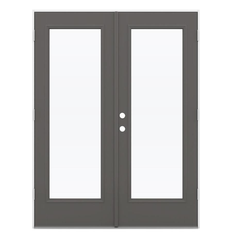 ReliaBilt 59.5-in 1-Lite Glass Timber Gray Fiberglass French Outswing Patio Door