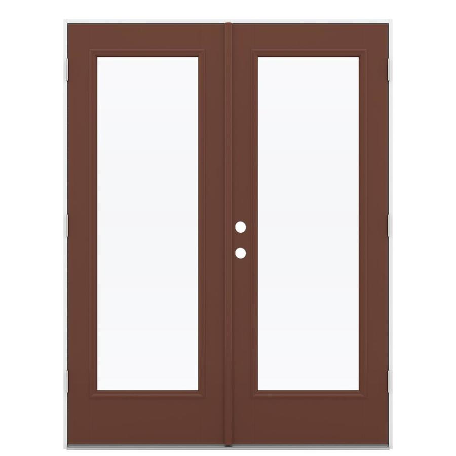 ReliaBilt 59.5-in 1-Lite Glass Foxtail Fiberglass French Outswing Patio Door
