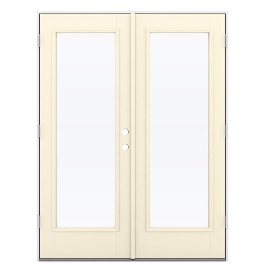 ReliaBilt 59.5-in 1-Lite Glass Bisque Fiberglass French Outswing Patio Door