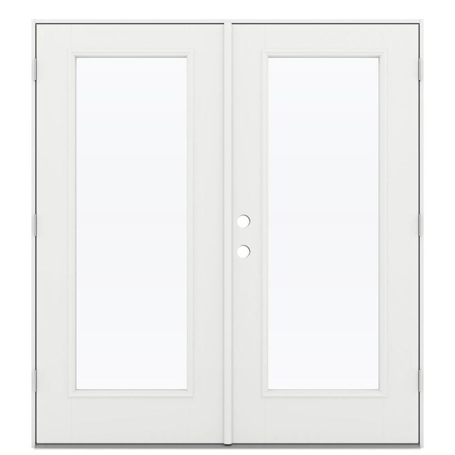 ReliaBilt 71.5-in 1-Lite Glass Arctic White Fiberglass French Outswing Patio Door