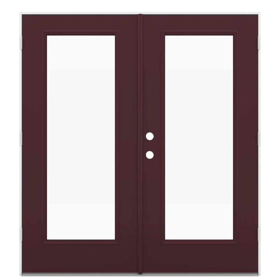 ReliaBilt 71.5-in 1-Lite Glass Currant Fiberglass French Outswing Patio Door