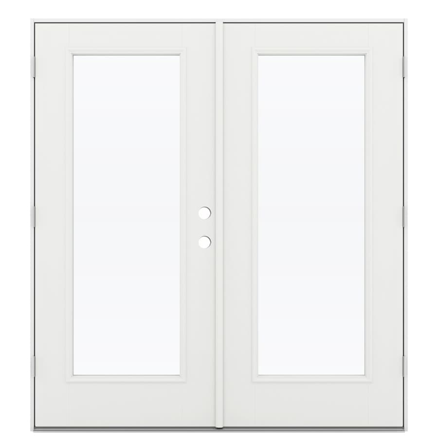 ReliaBilt 71.5-in 1-Lite Glass Arctic White Fiberglass French Outswing Patio Door