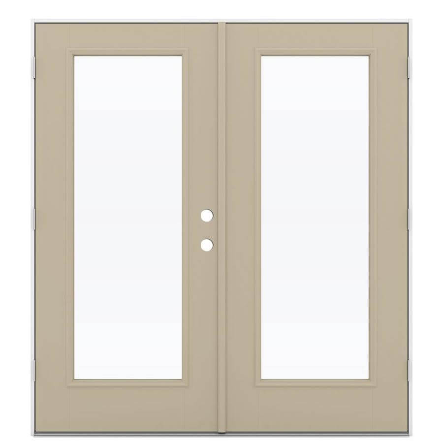 ReliaBilt 71.5-in 1-Lite Glass Sandy Shore Fiberglass French Outswing Patio Door