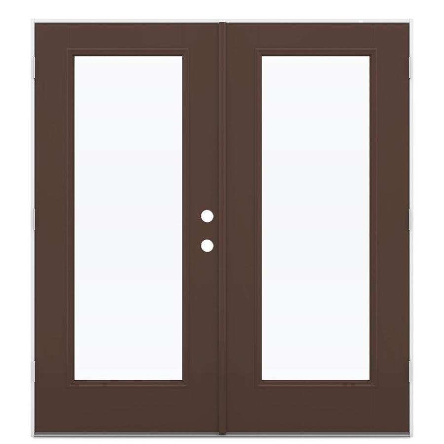 ReliaBilt 71.5-in 1-Lite Glass Chococate Fiberglass French Outswing Patio Door