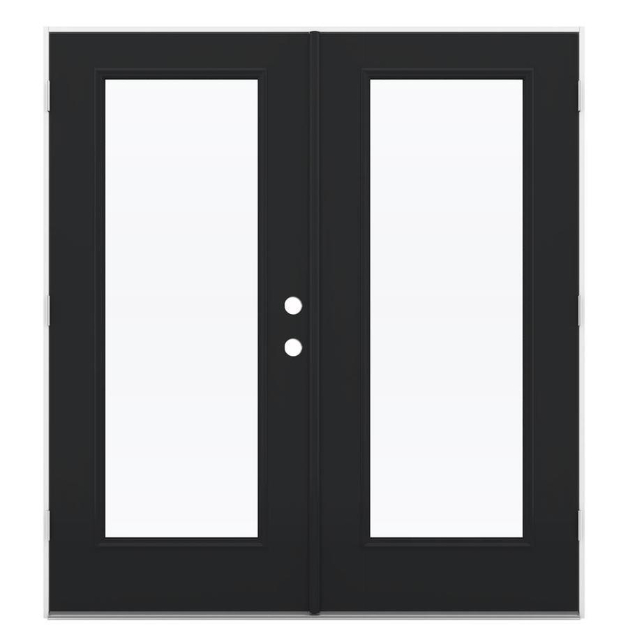 ReliaBilt 71.5-in 1-Lite Glass Peppercorn Fiberglass French Outswing Patio Door