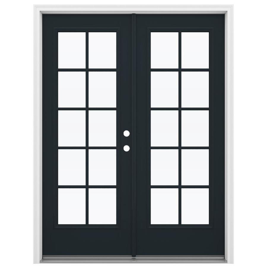 ReliaBilt 59.5-in 10-Lite Glass Eclipse Fiberglass French Inswing Patio Door