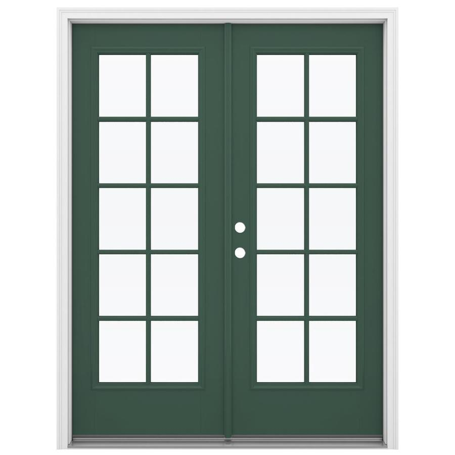 ReliaBilt 59.5-in 10-Lite Glass Evergreen Fiberglass French Inswing Patio Door