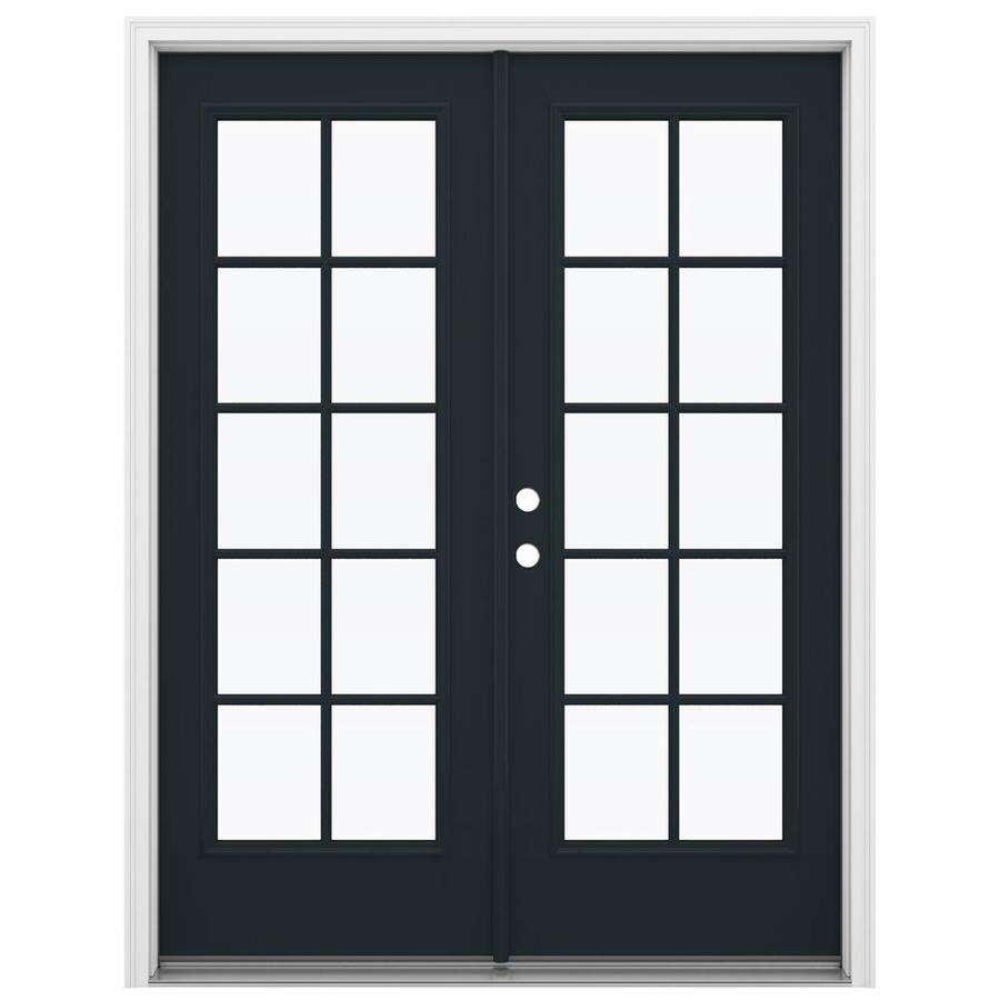 ReliaBilt 59.5-in 10-Lite Glass Eclipse Fiberglass French Inswing Patio Door