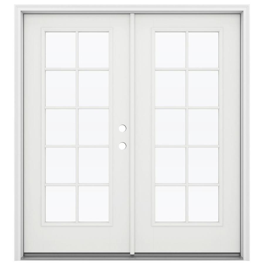 ReliaBilt 71.5-in 10-Lite Glass Arctic White Fiberglass French Inswing Patio Door