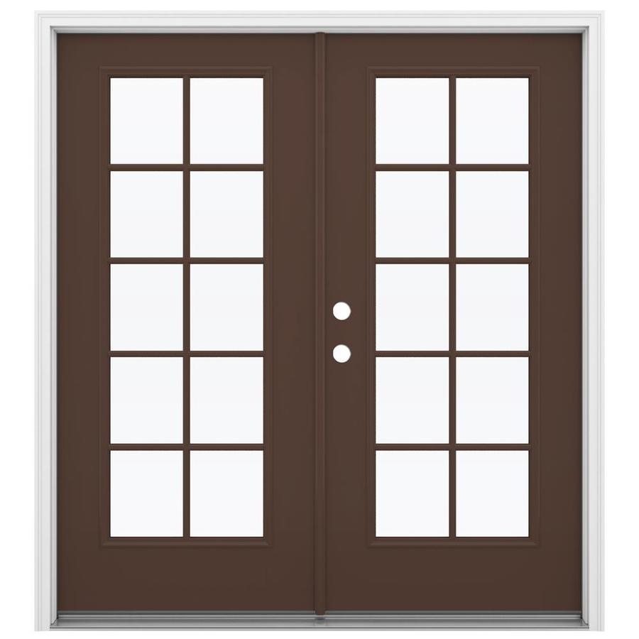 ReliaBilt 71.5-in 10-Lite Glass Chococate Fiberglass French Inswing Patio Door
