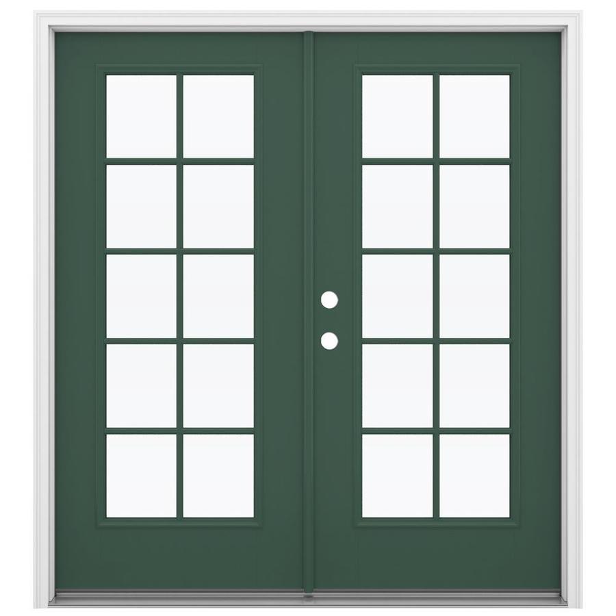 ReliaBilt 71.5-in 10-Lite Glass Evergreen Fiberglass French Inswing Patio Door