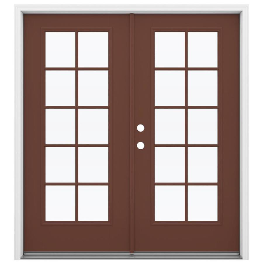ReliaBilt 71.5-in 10-Lite Glass Foxtail Fiberglass French Inswing Patio Door