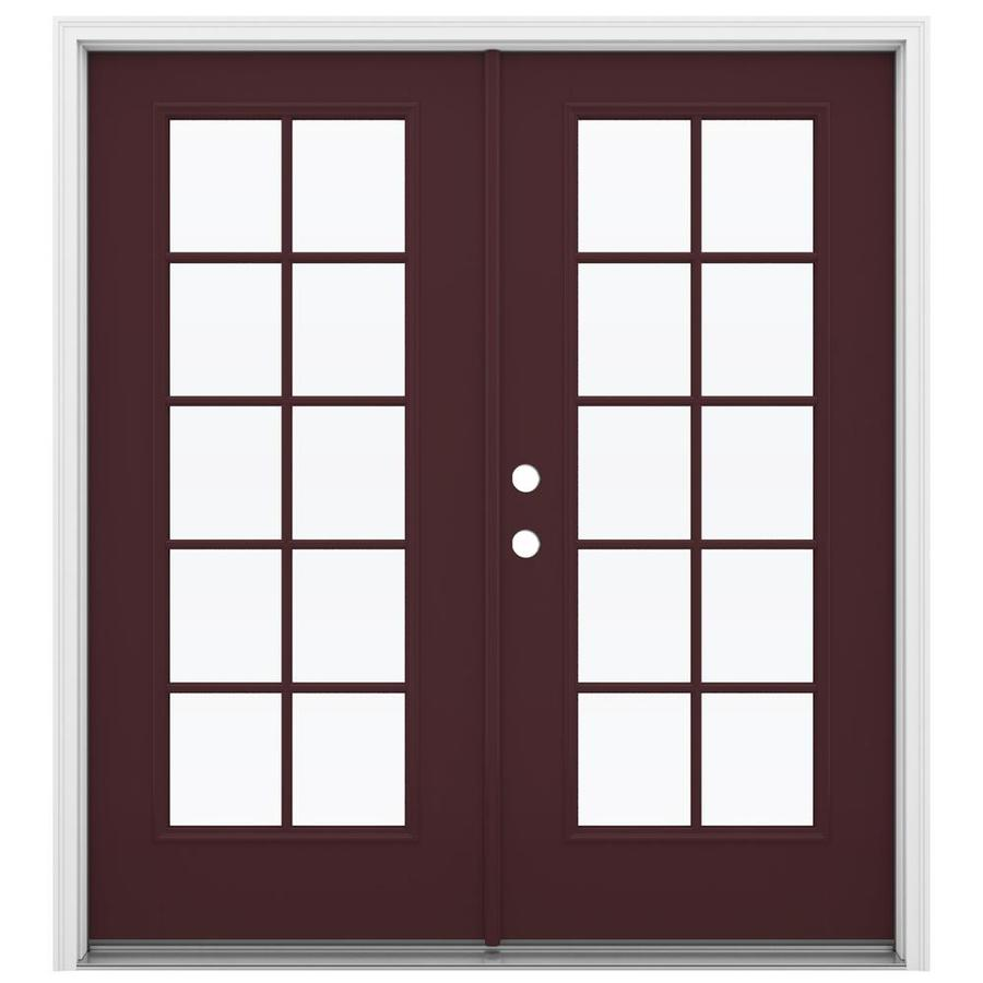 ReliaBilt 71.5-in 10-Lite Glass Currant Fiberglass French Inswing Patio Door