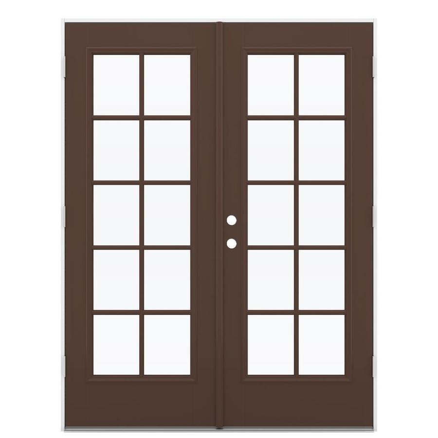 ReliaBilt 59.5-in 10-Lite Glass Chococate Fiberglass French Outswing Patio Door