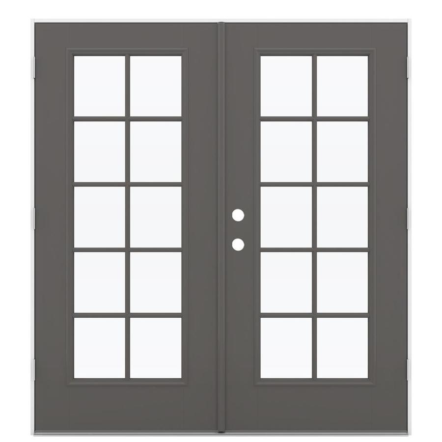ReliaBilt 71.5-in 10-Lite Glass Timber Gray Fiberglass French Outswing Patio Door