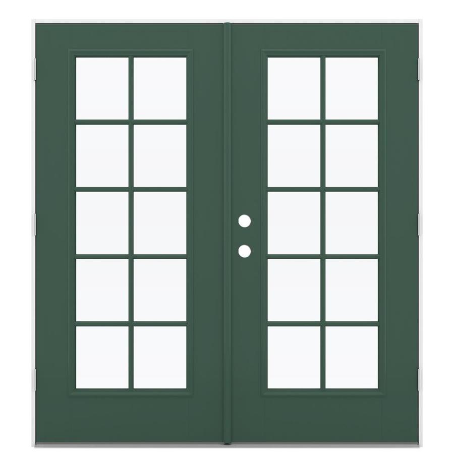 ReliaBilt 71.5-in 10-Lite Glass Evergreen Fiberglass French Outswing Patio Door