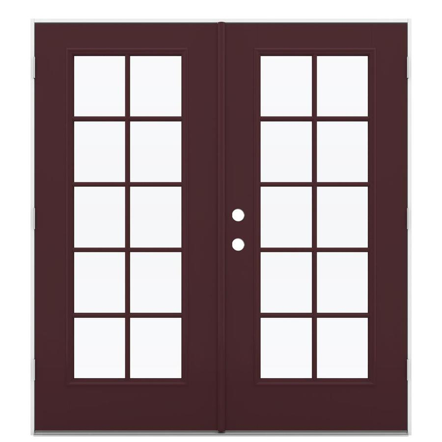 ReliaBilt 71.5-in 10-Lite Glass Currant Fiberglass French Outswing Patio Door