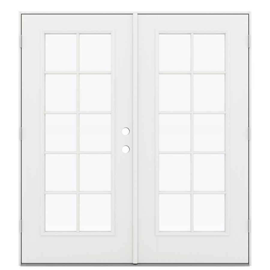 ReliaBilt 71.5-in 10-Lite Glass Arctic White Fiberglass French Outswing Patio Door