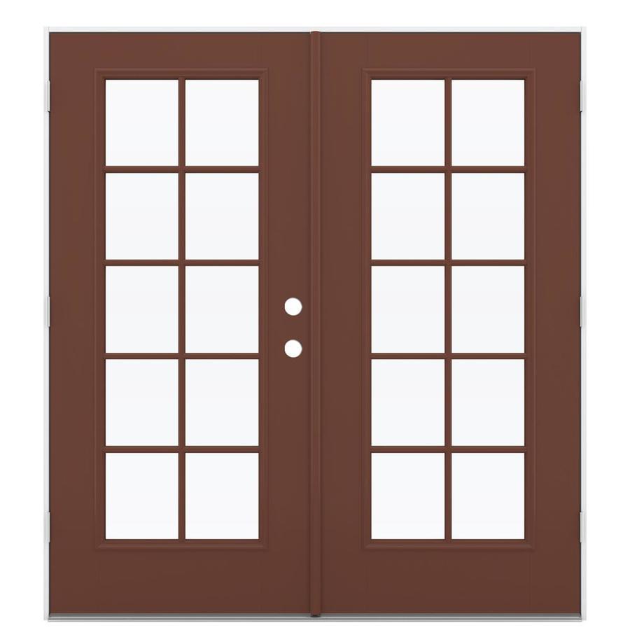 ReliaBilt 71.5-in 10-Lite Glass Foxtail Fiberglass French Outswing Patio Door