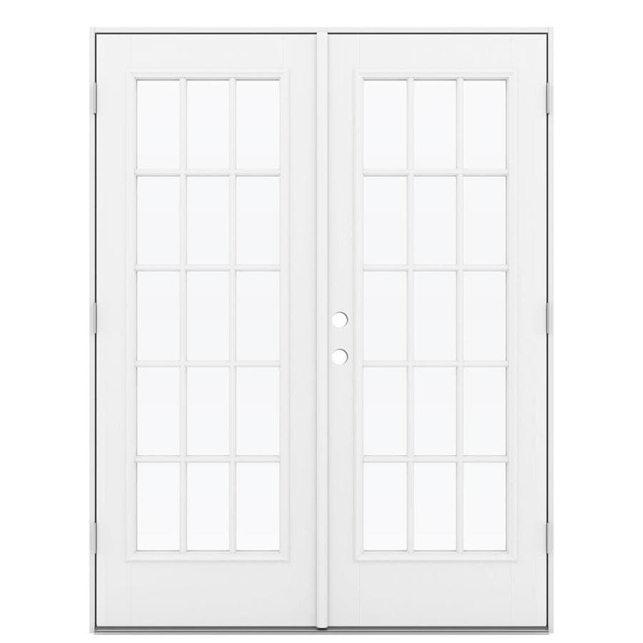 ReliaBilt 59.5-in 15-Lite Glass Primed Fiberglass French Inswing Patio Door