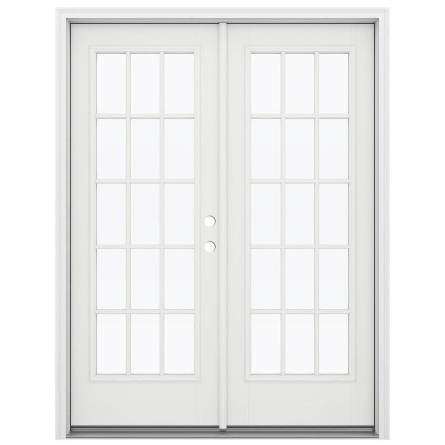 ReliaBilt 59.5-in 15-Lite Glass Arctic White Fiberglass French Inswing Patio Door