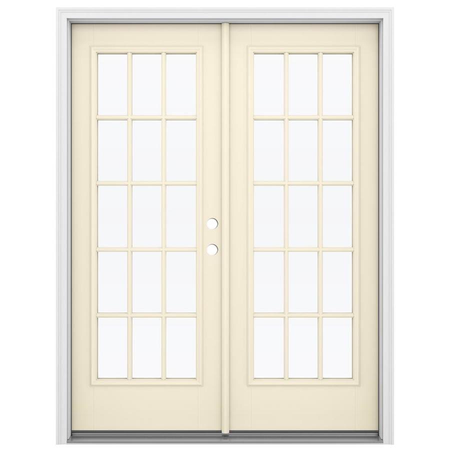 ReliaBilt 59.5-in 15-Lite Glass Bisque Fiberglass French Inswing Patio Door