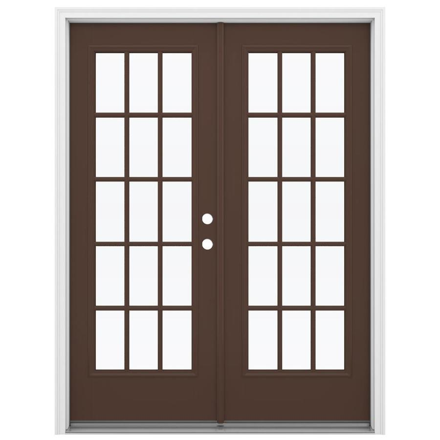 ReliaBilt 59.5-in 15-Lite Glass Chococate Fiberglass French Inswing Patio Door