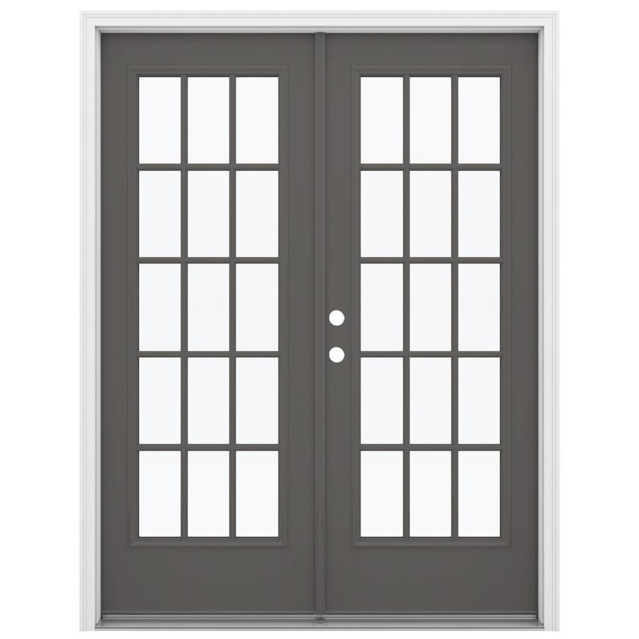 ReliaBilt 59.5-in 15-Lite Glass Timber Gray Fiberglass French Inswing Patio Door