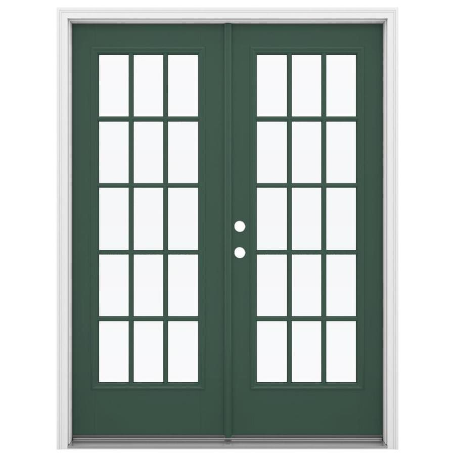 ReliaBilt 59.5-in 15-Lite Glass Evergreen Fiberglass French Inswing Patio Door