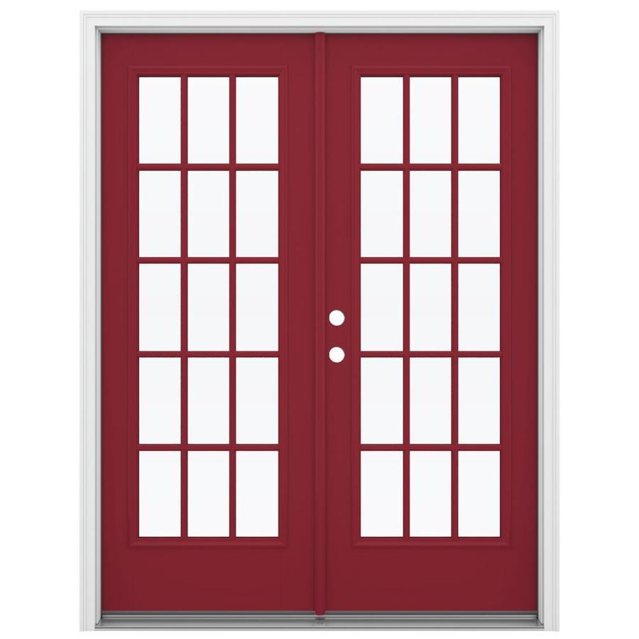 ReliaBilt 59.5-in 15-Lite Glass Roma Red Fiberglass French Inswing Patio Door