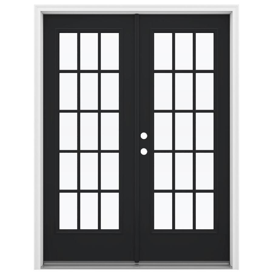 ReliaBilt 59.5-in 15-Lite Glass Peppercorn Fiberglass French Inswing Patio Door