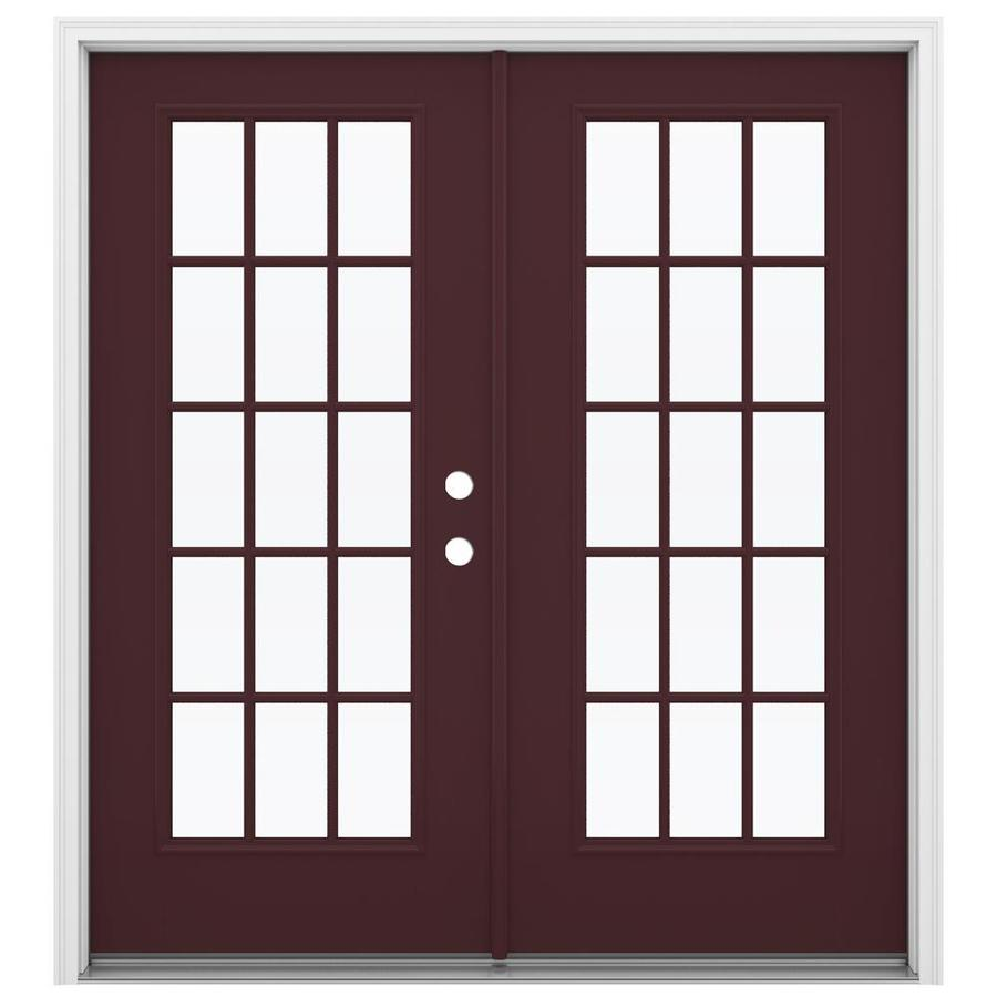 ReliaBilt 71.5-in 15-Lite Glass Currant Fiberglass French Inswing Patio Door