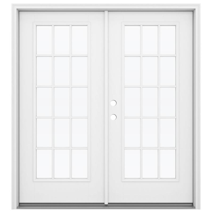 ReliaBilt 71.5-in 15-Lite Glass Primed Fiberglass French Inswing Patio Door