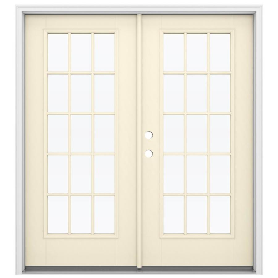 ReliaBilt 71.5-in 15-Lite Glass Bisque Fiberglass French Inswing Patio Door