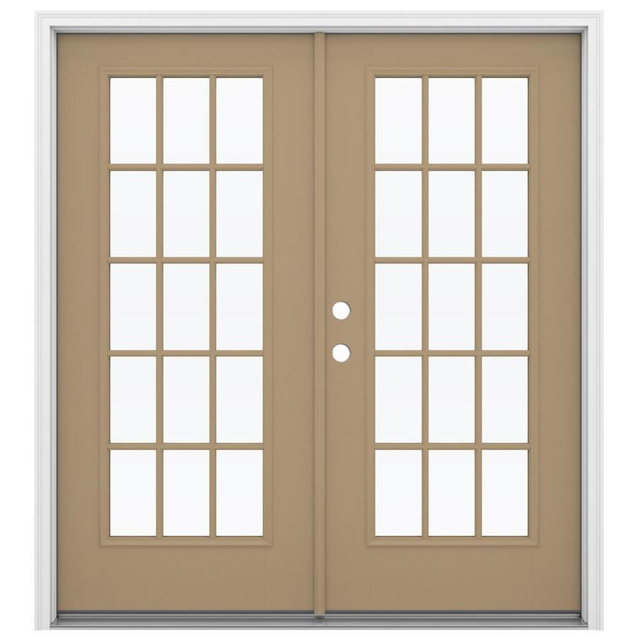ReliaBilt 71.5-in 15-Lite Glass Warm Wheat Fiberglass French Inswing Patio Door