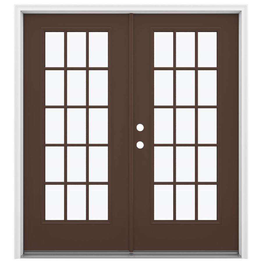ReliaBilt 71.5-in 15-Lite Glass Chococate Fiberglass French Inswing Patio Door