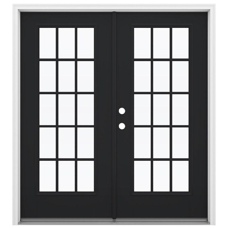 ReliaBilt 71.5-in 15-Lite Glass Peppercorn Fiberglass French Inswing Patio Door