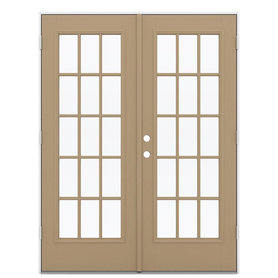 ReliaBilt 59.5-in 15-Lite Glass Warm Wheat Fiberglass French Outswing Patio Door