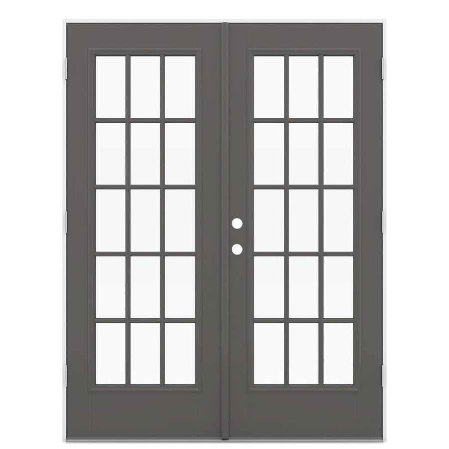 ReliaBilt 59.5-in 15-Lite Glass Timber Gray Fiberglass French Outswing Patio Door