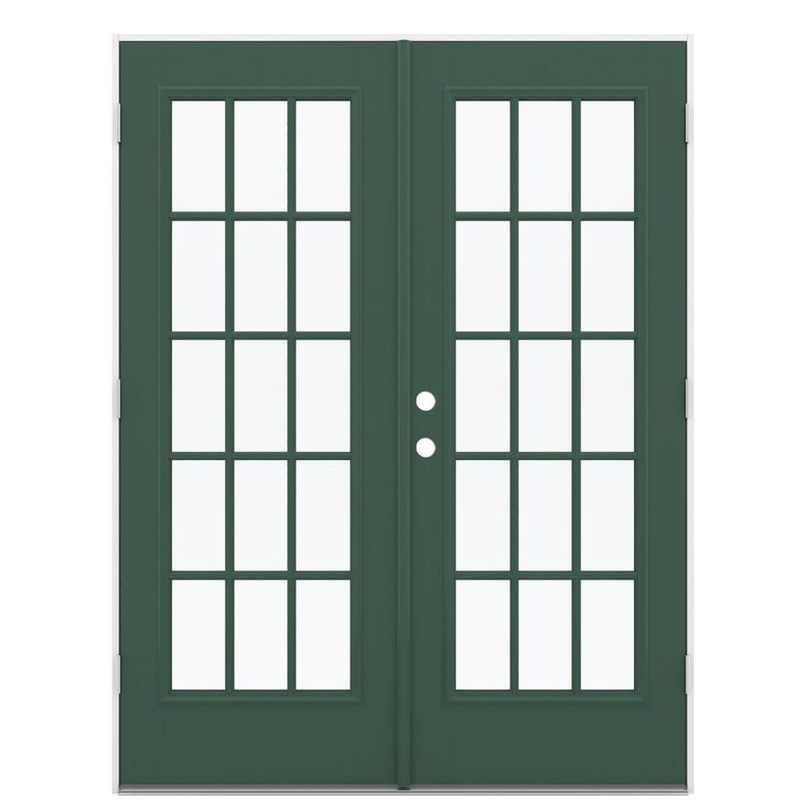 ReliaBilt 59.5-in 15-Lite Glass Evergreen Fiberglass French Outswing Patio Door