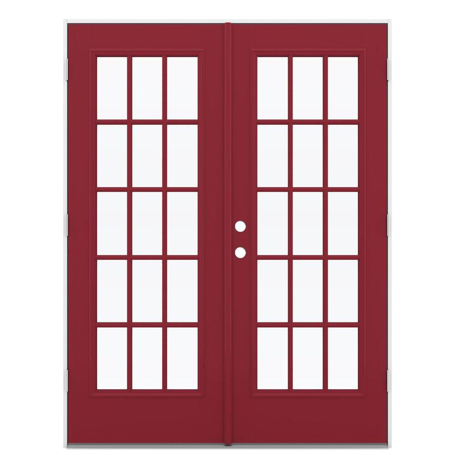 ReliaBilt 59.5-in 15-Lite Glass Roma Red Fiberglass French Outswing Patio Door