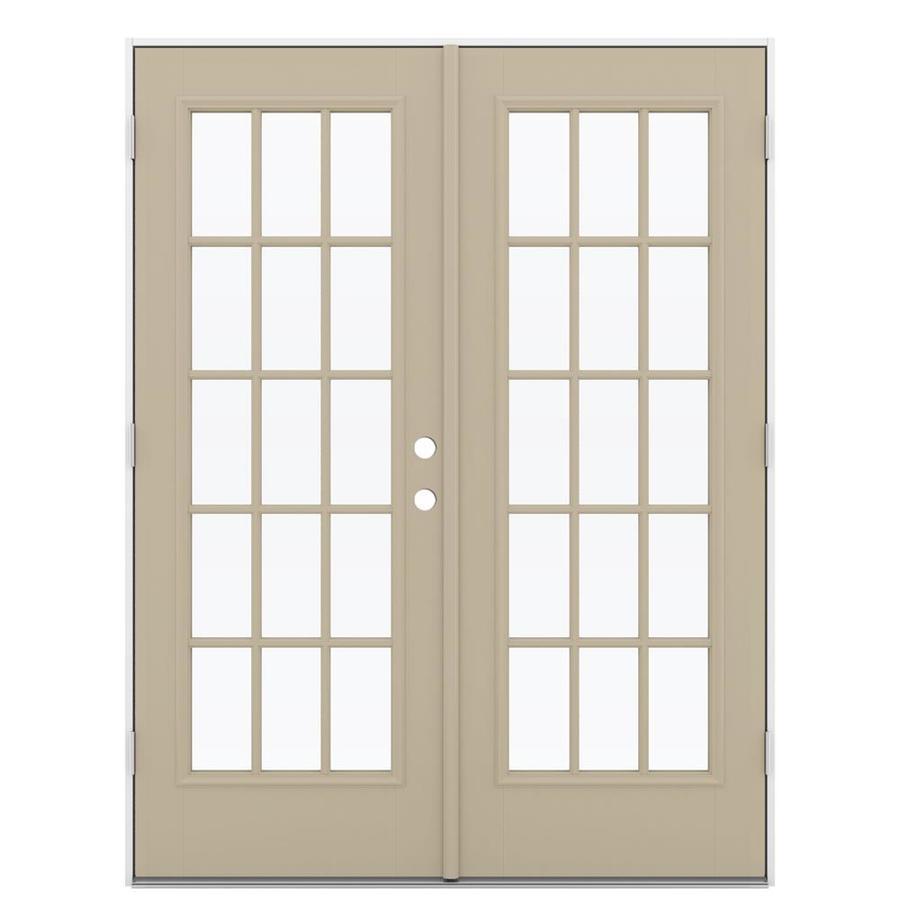 ReliaBilt 59.5-in 15-Lite Glass Sandy Shore Fiberglass French Outswing Patio Door