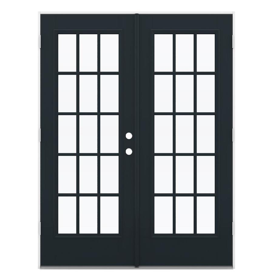 ReliaBilt 59.5-in 15-Lite Glass Eclipse Fiberglass French Outswing Patio Door