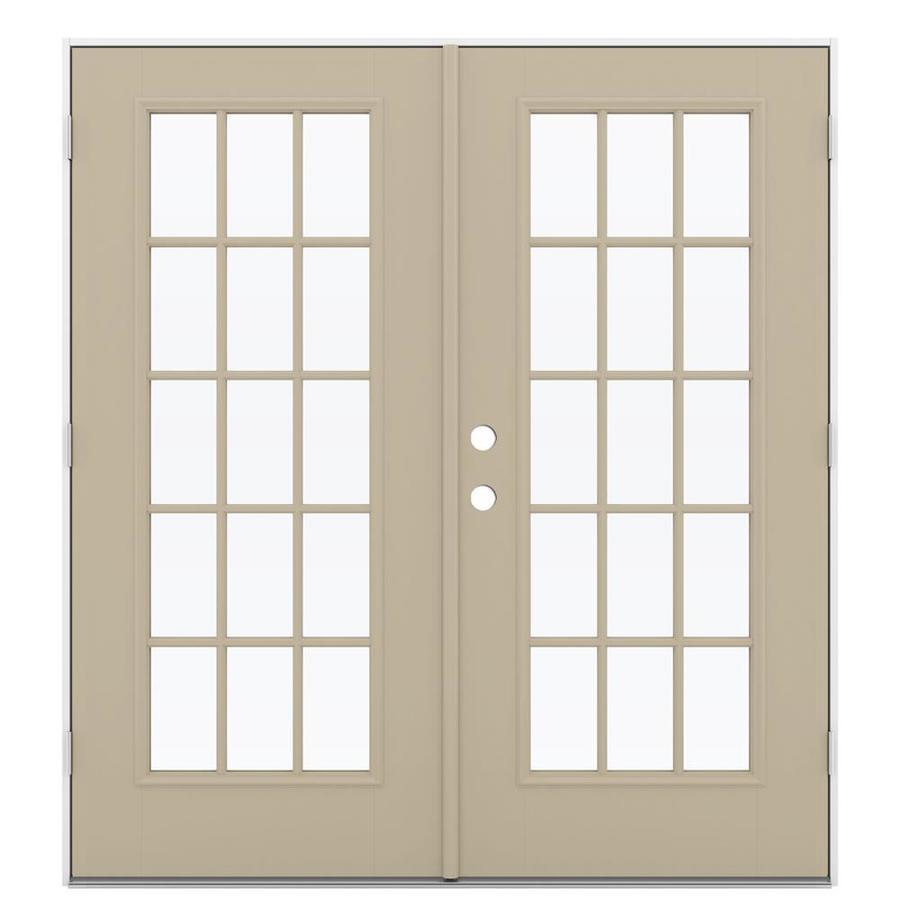 ReliaBilt 71.5-in 15-Lite Glass Sandy Shore Fiberglass French Outswing Patio Door