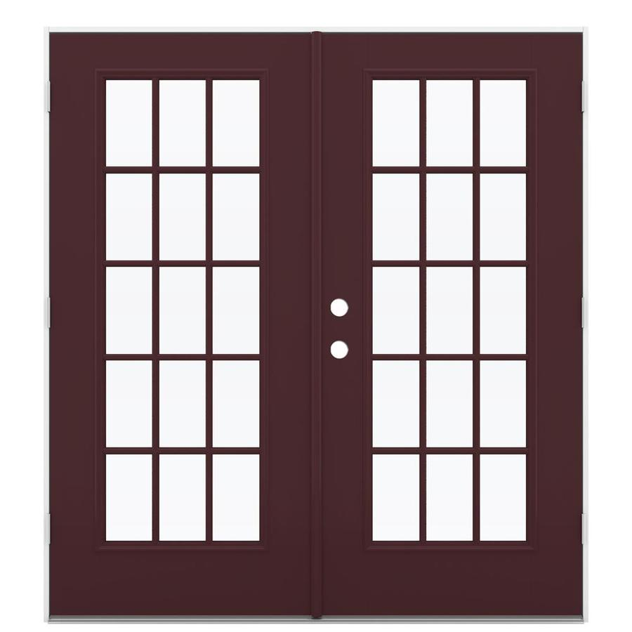 ReliaBilt 71.5-in 15-Lite Glass Currant Fiberglass French Outswing Patio Door