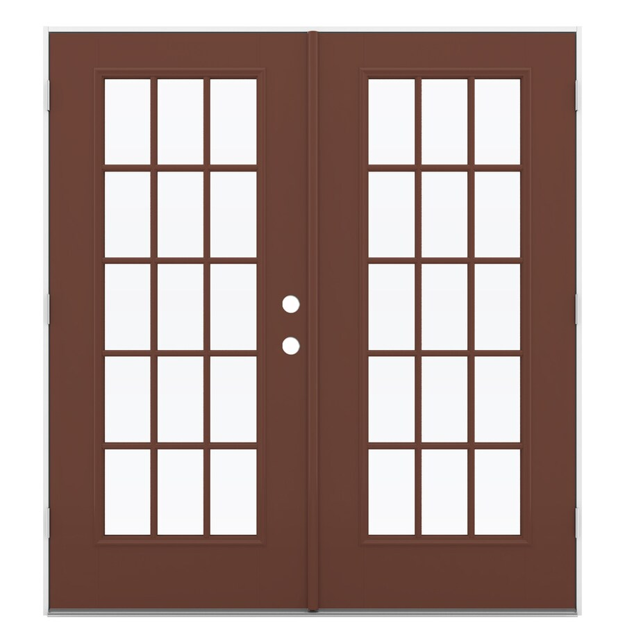 ReliaBilt 71.5-in 15-Lite Glass Foxtail Fiberglass French Outswing Patio Door
