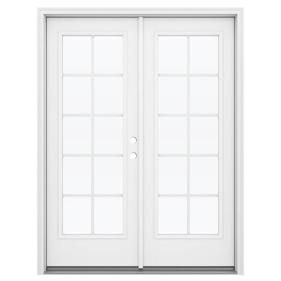 ReliaBilt 59.5-in Grilles Between the Glass Arctic White Fiberglass French Inswing Patio Door