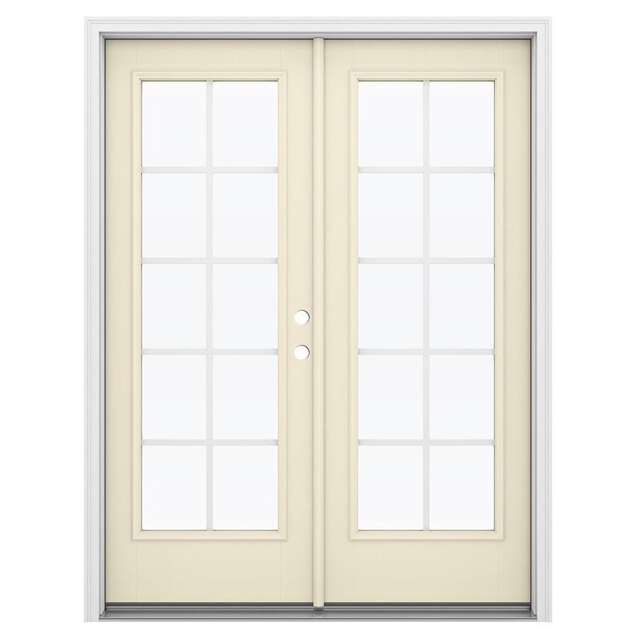 ReliaBilt 59.5-in Grilles Between the Glass Bisque Fiberglass French Inswing Patio Door