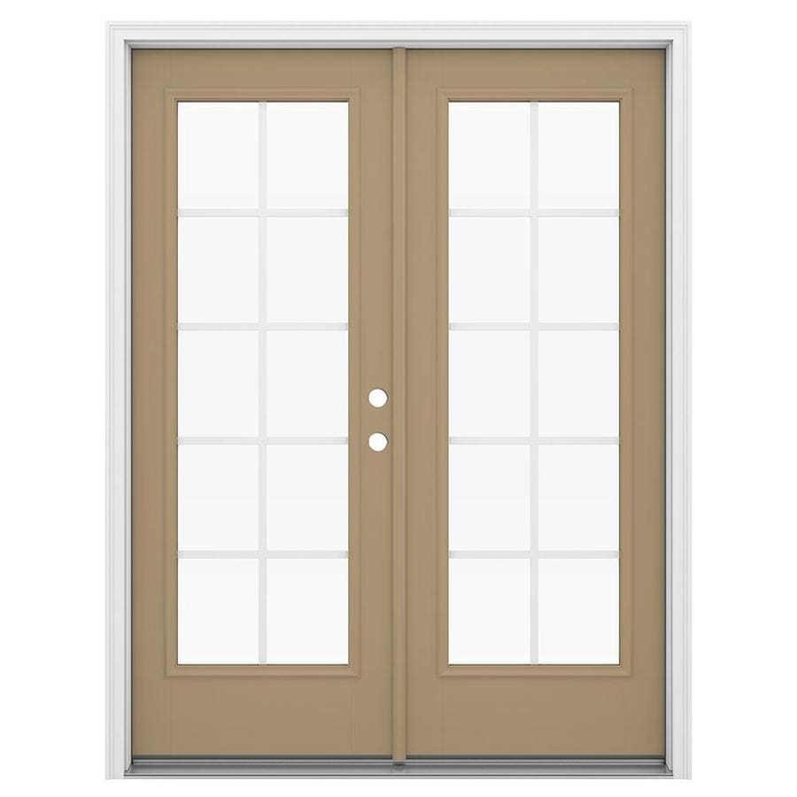 ReliaBilt 59.5-in Grilles Between the Glass Warm Wheat Fiberglass French Inswing Patio Door