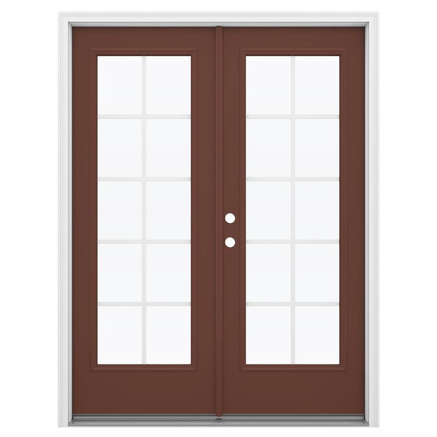 ReliaBilt 59.5-in Grilles Between the Glass Foxtail Fiberglass French Inswing Patio Door